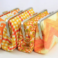Orange Wedding Party Gift / Orange Bridesmaids Clutches / Wedding Purse - Set of 8