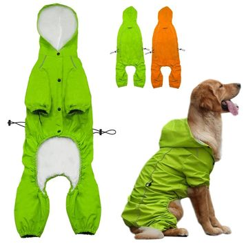Pet Dog Hooded Raincoat for Medium to Large Dogs Reflective Dog Waterproof  Rain Coat Jacket S-XL