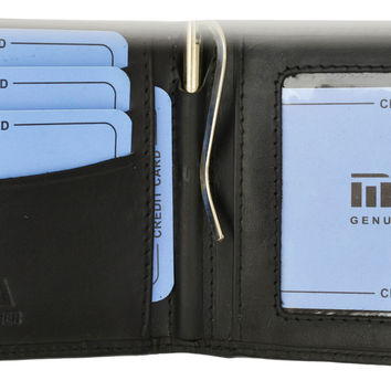 Moga High End Leather Mens Card ID Holder Bifold Wallet with Money Clip 91162
