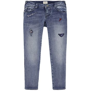 Armani Junior Girls Jeans with Sequin Patches