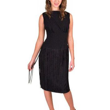 Vintage Cocktail Black Wiggle Dress  Long Hip Fringe 1950S 34-24-34