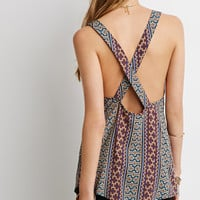 Mosaic Print Crisscross-Back Top
