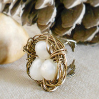 BIRDS NEST RING White Nature Inspired Adjustable Filigree Ring with Freshwater Pearls by WilwarinDesigns on Etsy