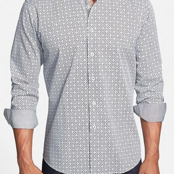 Men's Bugatchi Shaped Fit Print Sport Shirt