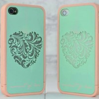BangCase(TM)ERO Hybrid TPU Cover for iPhone 4 & 4S, Turquoise Heart
