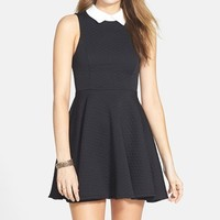 Junior Women's Basil Lola Point Collar Quilted Skater Dress