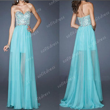 unique prom dresses, blue prom dresses, chiffon prom dress, long porm dresses, blue bridesmaid dresses, homecoming dresses, BE0411