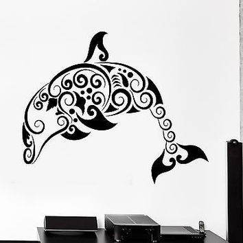 Wall Decal Dolphin Ocean Marine Sea Ornament Tribal Mural Vinyl Decal (z3302)
