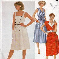 McCall's 2023 Sewing Pattern 80s Style Sundress Double Breasted or Wrap Front Dress Patch Pockets Belted Waist Uncut FF Bust 36