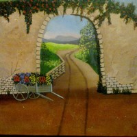 Adobe Wall and Flower Cart