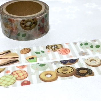 bakery bread donuts sandwich washi tape 5M x 2 cm cupcake strawberry cake cookie tea time masking tape chef time baking planner sticker