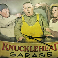 Three Stooges Clock Decor Gift for Boyfriend Knucklehead Garage Gift for Father Unique Wall Clock - Limited