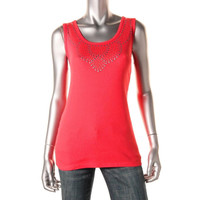Style & Co. Womens Studded Scoop Neck Tank Top