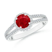 Diamond Halo Ruby Split Shank Ring With Diamond Studded Shoulders