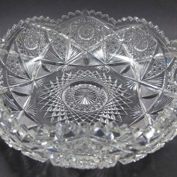 ABP hand Cut Glass mouth blown crimped crystal bowl