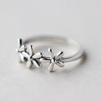 real. 925 Sterling Silver Jewelry Adjustable 3-Flower Daisy Flower Toe Midi Ring Knuckle Hawaii TLJ695