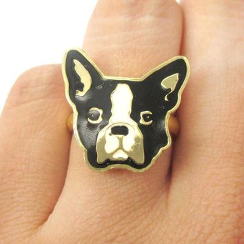French Bulldog Puppy Dog Face Shaped Adjustable Animal Ring | Limited Edition Jewelry