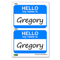 Gregory Hello My Name Is - Sheet of 2 Stickers