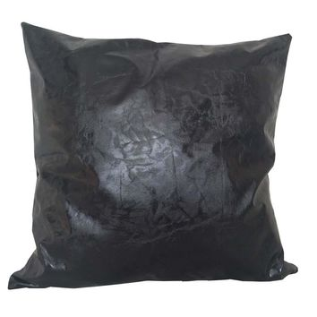 """Cracked Faux Leather 18""""x18"""" Pillow Cover - Black (Wool Blend back)"""