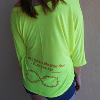 "Mortal Instruments ""I will love you"" Flowy V-Neck Cropped Top in Neon Yellow"