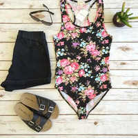 Rose Tank Bodysuit-Black