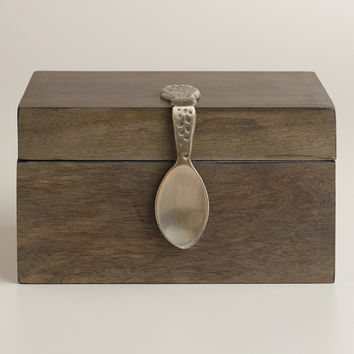 Vintage-Style Spoon Wood Recipe Box