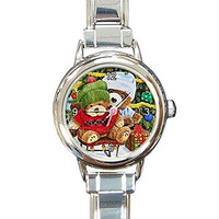 Christmas Teddy Bear Friends on a Girls or Womens Round Silver Italian Charm Watch.. Think Small Wrist