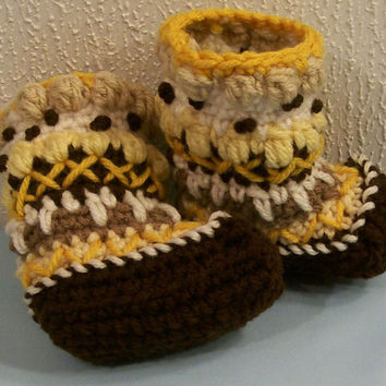 Baby Mukluks Granny Boots-Crochet-Browns and Golds--Baby Shower Gift--3/6M--#267