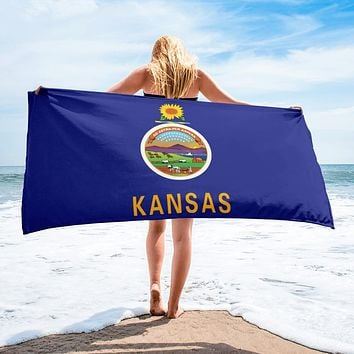 Kansas State Flag Beach Towel