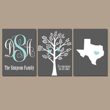 State Family Tree Monogram Canvas or Prints Charcoal Gray Aqua Initials Wedding Gift Last Name Date Tree Birds Custom Personalized Set of 3