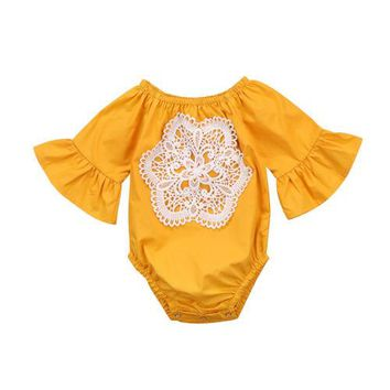Newborn Baby Girl Romper Lace Flower Ruffles Jumpsuit Playsuit Clothes Outfit
