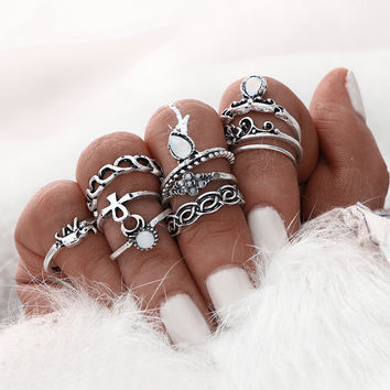 Old Silver 10Pcs Aztec & Elephant Ring Set + Gift Box +Free Summer Gift -Random Necklace