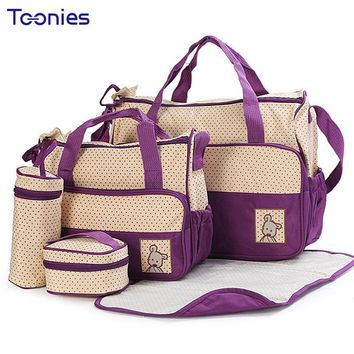 New High-quality 5 each / set Hand Bags Diaper Nappy Durable Bag Mummy Pack Baby Bottle Accessories Packages 8 Color Mom Packs