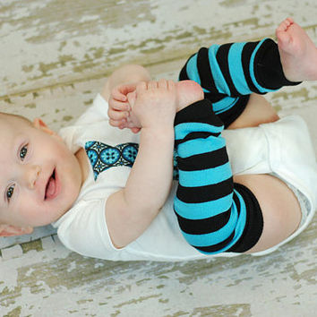 turquoise and black stripe baby leg warmers, infant leggings, girl leg warmers, boy leg warmers, toddler leg warmers, baby legs
