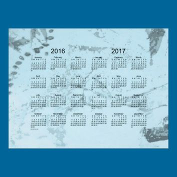 Old Turquoise Paint 2 Year 2016-2017 Wall Calendar Poster from Zazzle.com