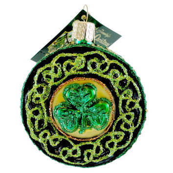 Old World Christmas Celtic Brooch Glass Ornament