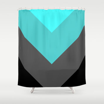 Aqua Gray Chevron Stripes Shower Curtain by SimpleChic