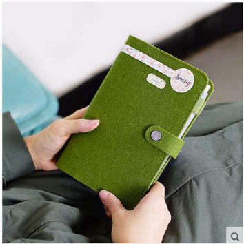 new felt fabric Cover spiral notebook office personal diary week planner agenda organizer Cute ring stationery binder A6