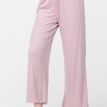 Kayla Ribbed Knit Lounge Pant in Dusty Pink