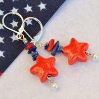 4th of July earrings, patriotic  jewelry, star earrings, lapis earrings, USA jewelry, coral earrings, july 4th jewelry, fru heart attack