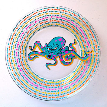 Graffiti Plate, Octopus, Ocean, Fish, Nautical, Beach, Painted Wine Glasses, Tattoo Style, Urban, Modern, Colorful, Kitchen, Dinnerware
