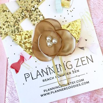 Taupe Chiffon Poppy with Gold Glitter Leaves Flower Planner Clip