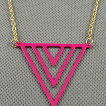 unique style necklace pink Geometric pendant women metal long necklace simple style necklace