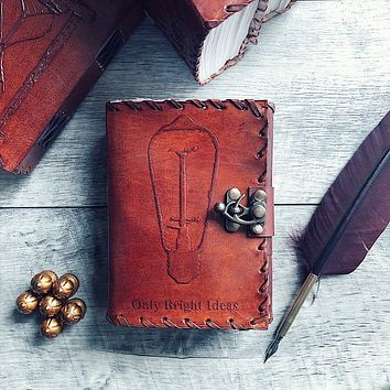Only Bright Ideas Light Bulb Mini Leather Journal