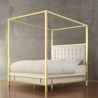 King size Canopy Bed in Gold Finish with Button Tufted Upholstered Headboard