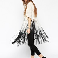 ASOS Poncho in Texture with Dip Dye Fringing
