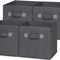 OneSpace 50-CB4P04 Foldable Cloth Storage Cube Set, 4 Pack, Grey