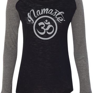 Womens Yoga T-shirt Namaste Om Preppy Patch Elbow Tee