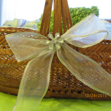 Large Unique Vintage Cottage Chic Wicker Basket with White Accents - Bows and Bling Flowers