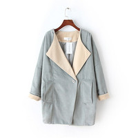 Casual Single Button Turn Down Collar Long Sleeve Coat